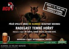 Olomoučtí hokejisté zahájí čepování nového piva Radegast Temně Hořký