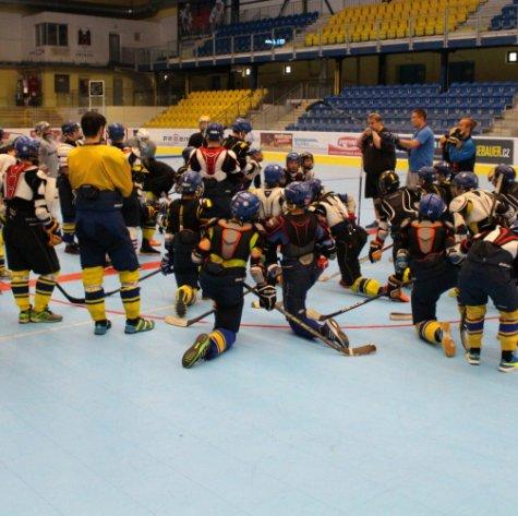 Mladí Zubři se oblékli do výstroje, páteční trénink jim zpestřili hráči A-týmu
