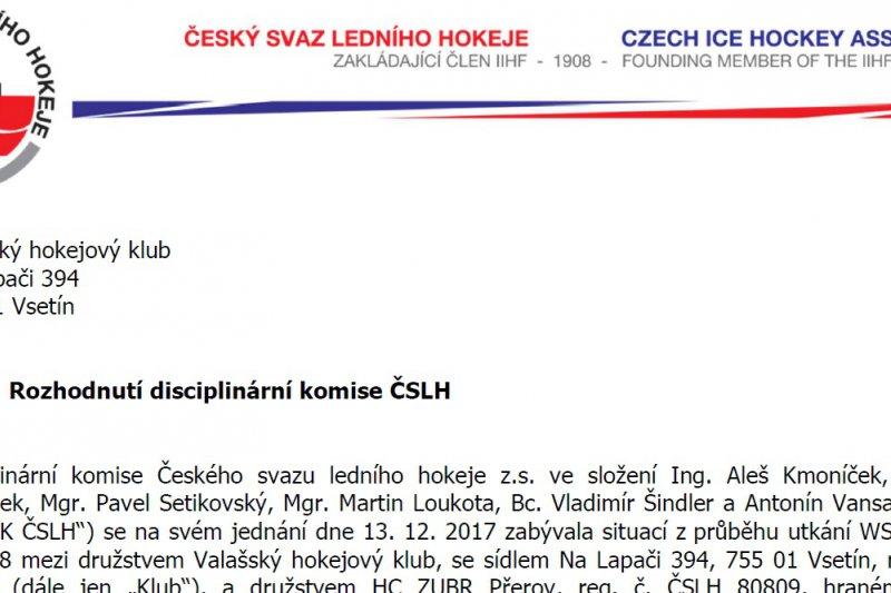 Valašský hokejový klub obdržel od disciplinární komise pokutu