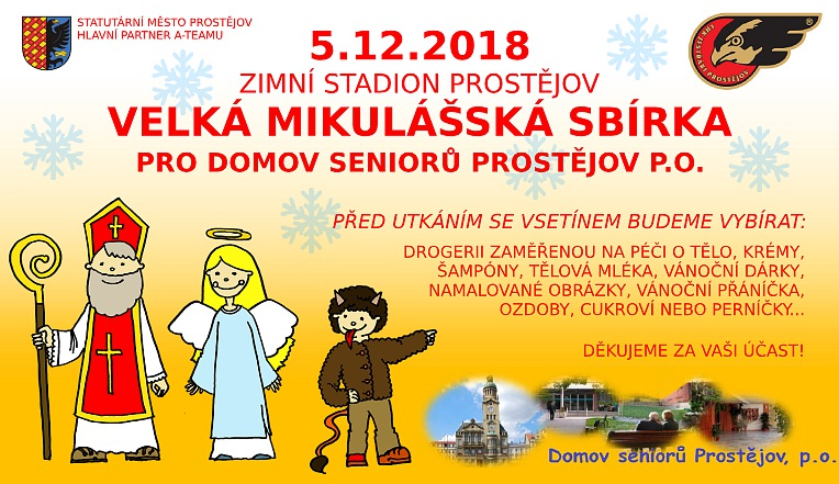 Hokejový klub LHK Jestřábi Prostějov uskuteční charitativní sbírku pro domov seniorů v Prostějově
