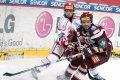 Michal Broš napadá rozehrávku třineckého hráče