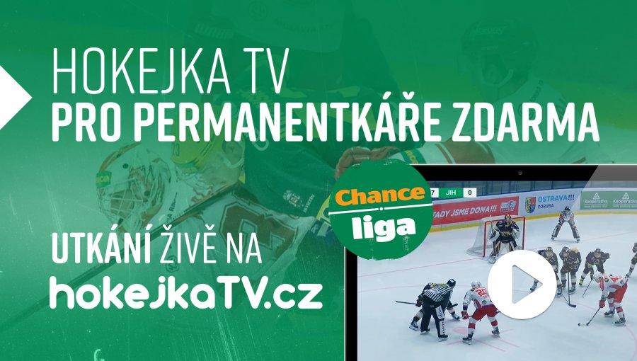 Hokejka TV - měsíc zdarma pro majitele permanentek Draků